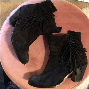 Black Fringe Booties Boots Sam Edelman 7.5 Heel